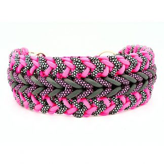 4UniqueDogs Paracord Halsband Heart Rosa