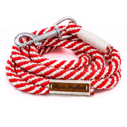Hundeleine aus PPM-Seil rot/weiß