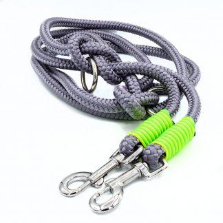 Hundeleine aus PPM-Seil grau/gelb/grün