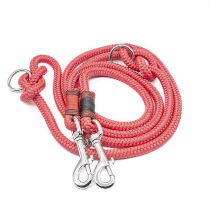 Hundeleine aus PPM-Seil rot/schwarz