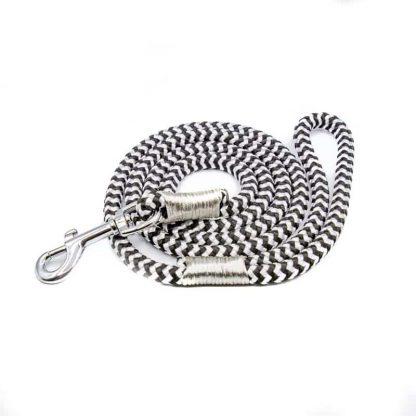 Hundeleine aus PPM-Seil weiß/schwarz/silber