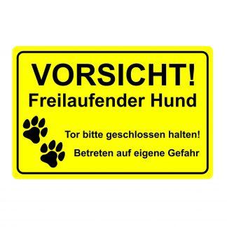 """Schild """"Freilaufender Hund"""" mit  Pfoten"""