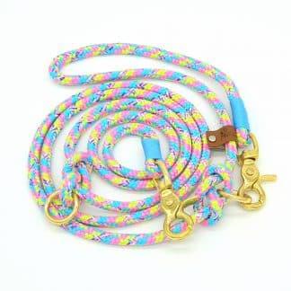Hundeleine aus PPM-Seil BubbleGum/Blue